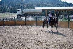 Sabine training her horse